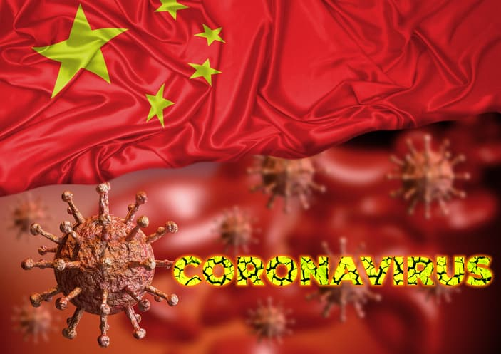 Coronavirus and flag of china, country where an outbreak started in Wuhan city and is spreading around the world